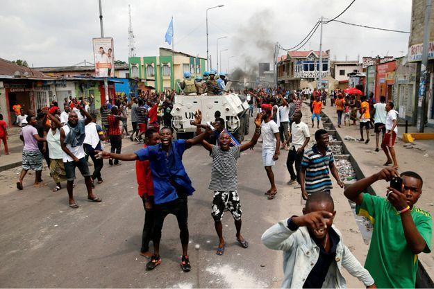 A Kinshasa, le 20 décembre 2016 manifestations contre le président sortant Joseph Kabila en présence des casques bleus.