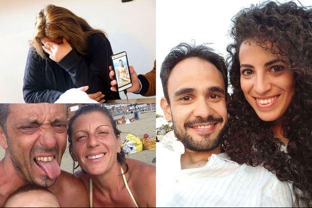 De haut en bas et de g. à dr. : les proches de Carlos Erazo, un Péruvien mort à Gênes, montrent une photo du jeune homme. Roberto Robbiano, 43 ans, Ersilia Piccinino, 41 ans, et leur fils Samuel. Alberto Fanfani, 32 ans, et Marta Danisi, 29 ans.