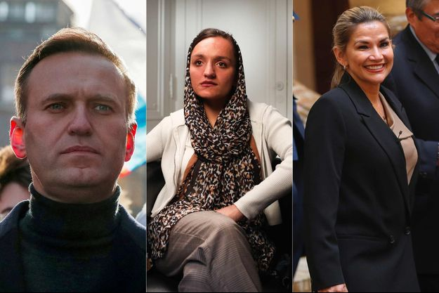 Alexeï Navalny, Zarifa Ghafari et Jeanine Áñez, trois des nommés au prix Sakharov 2021.