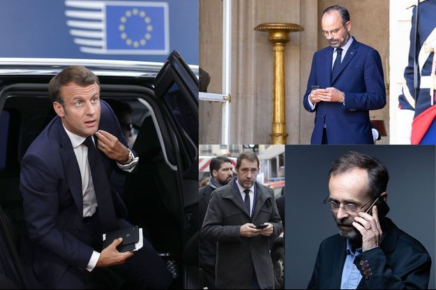 Jamais sans leurs téléphones : Emmanuel Macron, Edouard Philippe et Christophe Castaner en 2019; Robert Ménard en 2021.