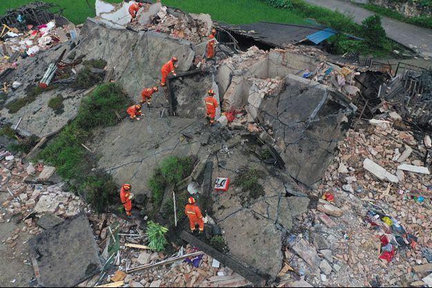 Des ruines en Chine après le séisme.