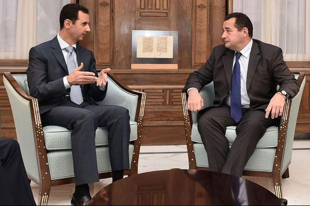 Bachar El-Assad et Jean-Frédéric Poisson à Damas.