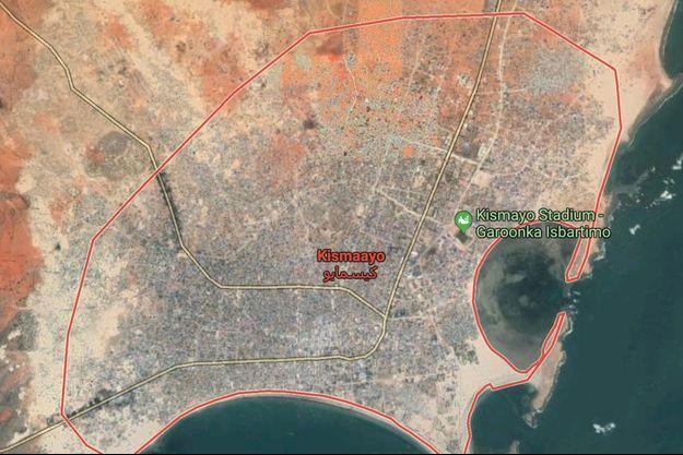 Vue satellite de Kismayo, en Somalie.