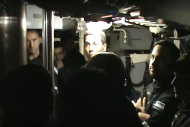 Capture d'écran de la vidéo prise à bord du sous-marin San Juan.
