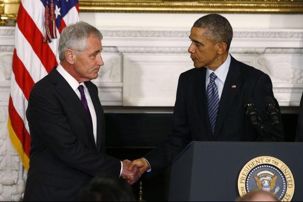 Chuck Hagel et Baracl Obama lors de la conférence de presse de ce lundi à la Maison Blanche.
