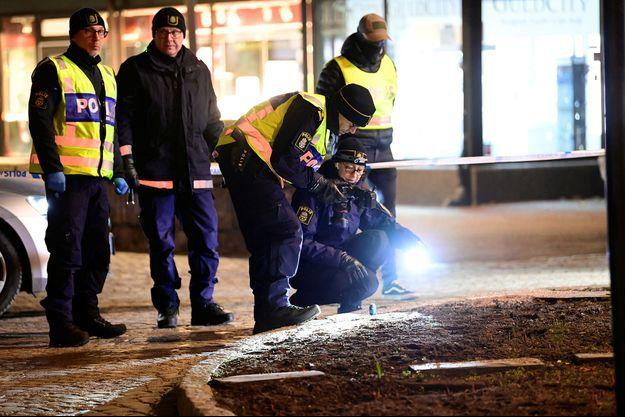 La police sur les lieux de l'attaque en Suède.