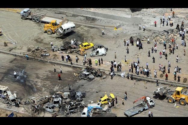 Le site de deux eplosions à Damas le 13 mai.