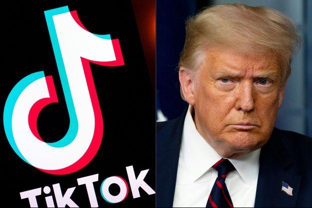 Le logo de TikTok et Donals Trump.
