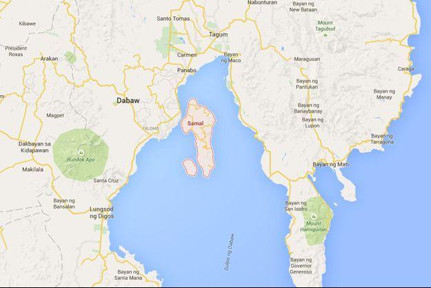 Les quatre touristes étaient sur l'île de Samal