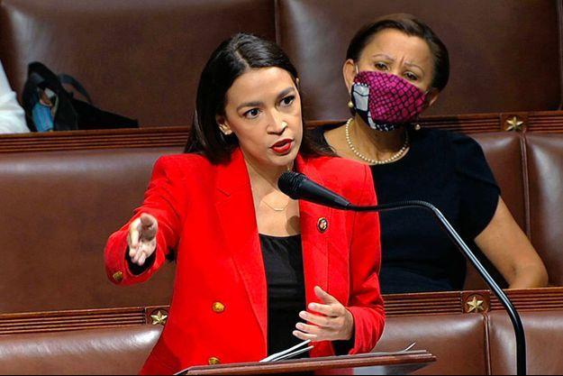 Alexandria Ocasio-Cortez lors de son discours au Congrès, jeudi.