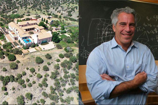 Vue aérienne du «Zorro Ranch» de Jeffrey Epstein, au Nouveau Mexique, le 15 juillet. A droite, Jeffrey Epstein à Cambridge en 2004.
