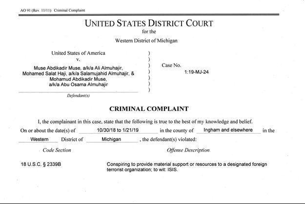 Les trois hommes ont été inculpés de conspiration en vue de soutenir le groupe Etat islamique.