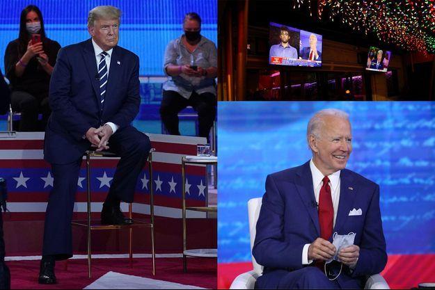 Donald Trump à Miami, Joe Biden à Philadelphie et deux écrans de télévision diffusant les deux émissions dans un bar en Floride.