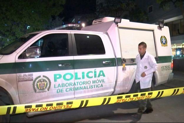 La scène du crime, filmée par la télévision colombienne.