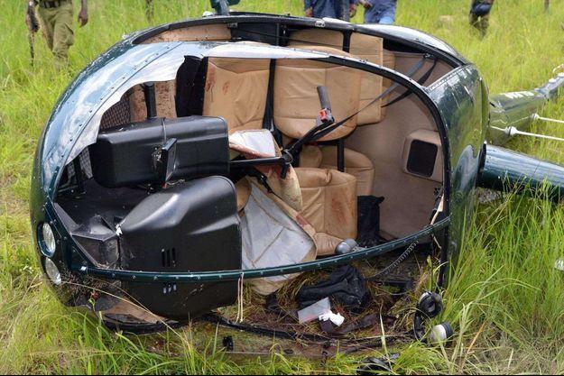 L'hélicoptère dans lequel Roger Gower a été tué.