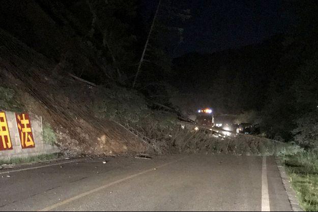 Des arbres sur la route après le tremblement de terre dans la province du Sichuan.
