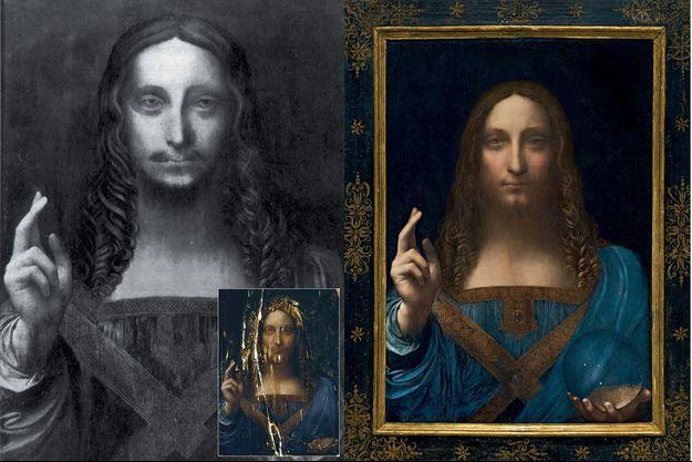 « Salvator Mundi » (65,7 x 45,7 cm, circa 1500). Au fil de son histoire, la toile a été modifiée, une « moustache » a même été ajoutée. En médaillon : en 2002, avant une ultime restauration. Le tableau restauré. La main droite est levée en signe de bénédiction et d'enseignement. La main gauche tient un globe de cristal, symbole de son pouvoir divin.