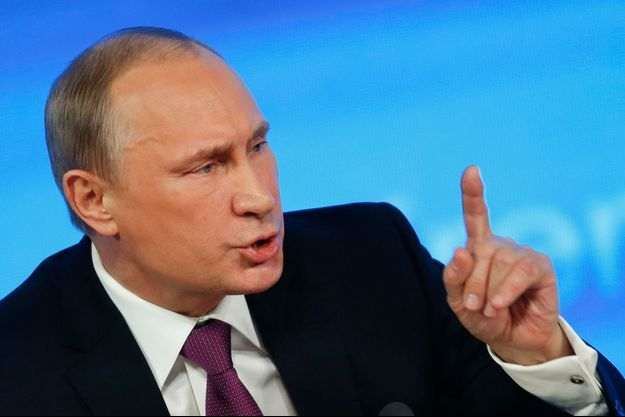 Vladimir Poutine lors de la conférence de presse organisé à Moscou.