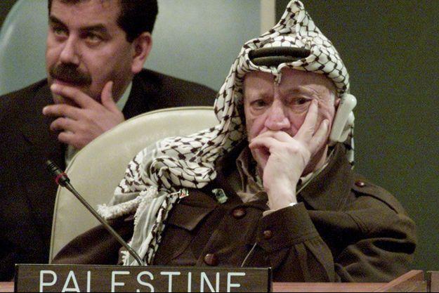 Yasser Arafat aux Nations unies, en novembre 2001.