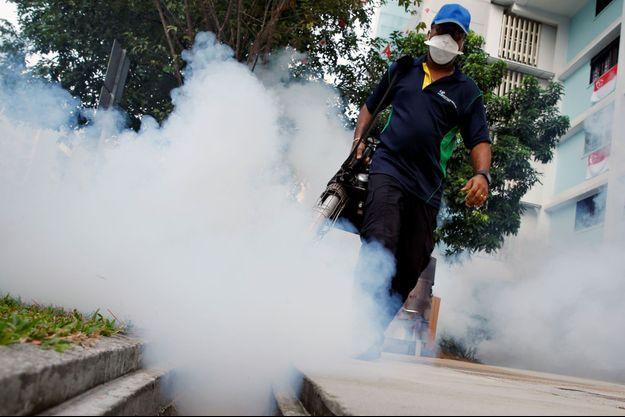 Un homme met du produit contre les moustiques dans une rue de Singapour