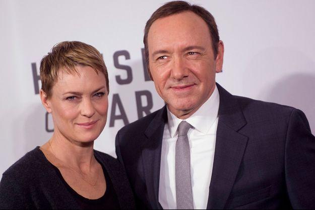 """Robin Wright et Kevin Spacey, héros de """"House of Cards"""" sont en lice pour le Golden Globe de la meilleure actrice et du meilleur acteur"""