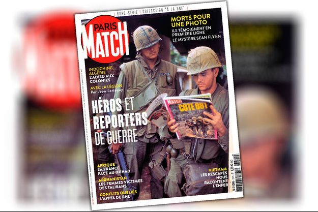 En couverture. Huê, Vietnam, février 1968. Un marine américain lit Paris Match.