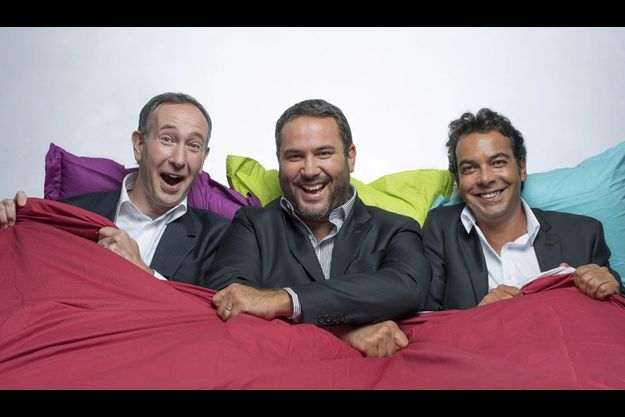 Laurent Bazin (RTL), Bruce Toussaint (Europe 1), et Patrick Cohen (France Inter).