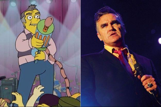 Le chanteur végan (à d.) affublé dans les Simpson d'une mitraillette à saucisses.