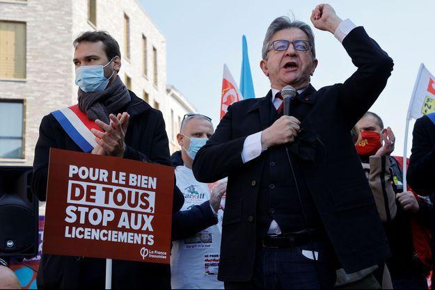 Jean-Luc Mélenchon à Lille samedi, lors d'un discours à ses militants en début de manifestation.