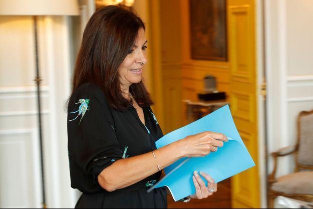 Anne Hidalgo lors d'une conférence de presse en juin 2017.