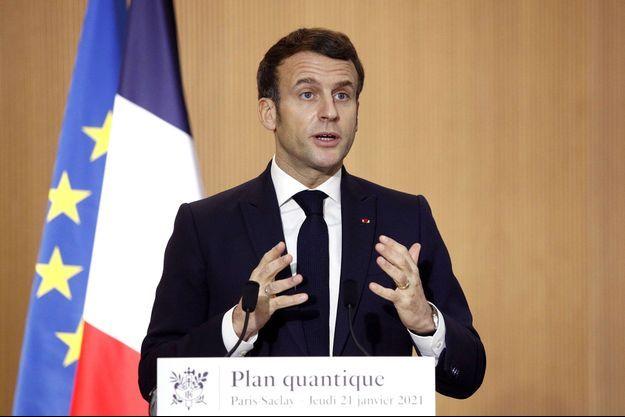 Emmanuel Macron à l'université de Paris-Saclay, jeudi.