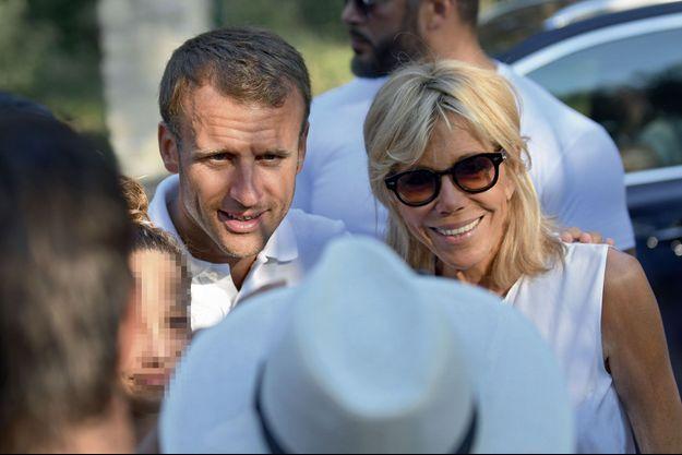 Emmanuel et Brigitte Macron à Bormes-les-Mimosas le 7 août.