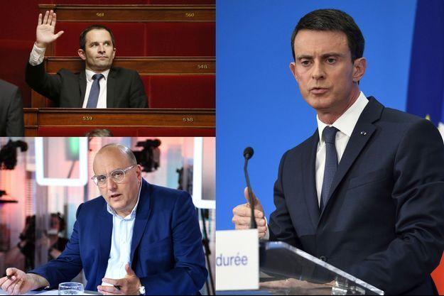 Benoît Hamon, Julien Dray et Manuel Valls.