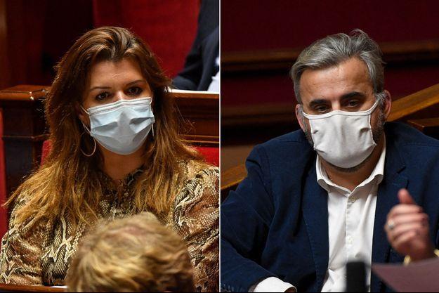 Marlène Schiappa, mercredi, à l'Assemblée nationale et Alexis Corbière, ici en décembre 2020.