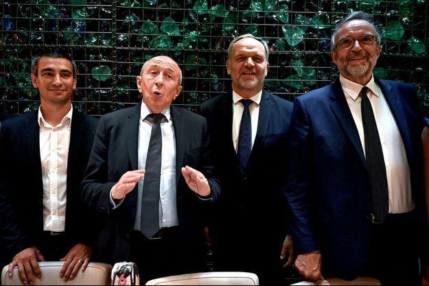 Gérard Collomb lors d'une conférence de presse avec de gauche à droite Yann Cucherat, Francois-Noel Buffet et Etienne Blanc.