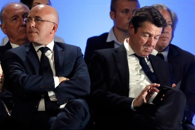 Eric Ciotti et Christian Estrosi ici à Nice en avril 2017 lors d'un meeting de François Fillon.