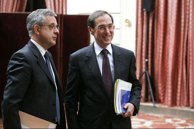 Xavier Musca et Claude Guéant à l'Elysée en 2009.