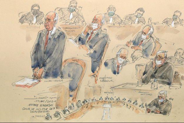 M. Balladur, 91 ans, a pris place dans la salle d'audience du palais de justice de Paris peu après son ancien ministre de la Défense François Léotard, 78 ans, avec lequel il comparaît devant cette juridiction mi-judiciaire mi-politique, la seule habilitée à juger d'anciens ministres pour des infractions commises pendant leurs mandats.