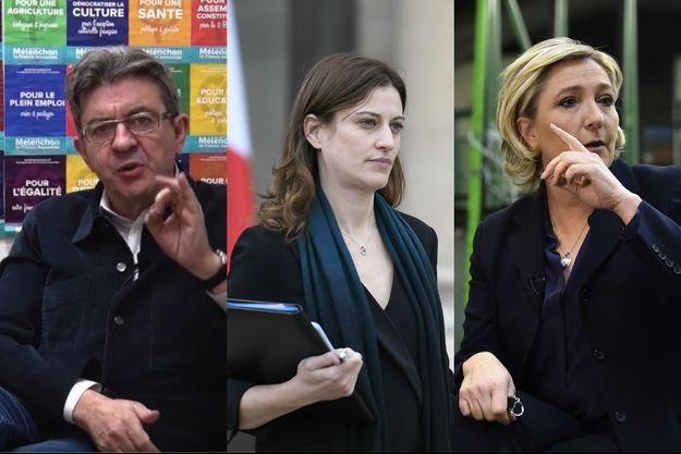Jean-Luc Mélenchon, Juliette Méadel et Marine Le Pen, photomontage.