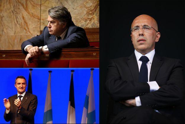 Le député d'extrême droite Gilbert Collard, le député Les Républicains Eric Ciotti et le maire FN du 7ème secteur de Marseille, Stéphane Ravier.