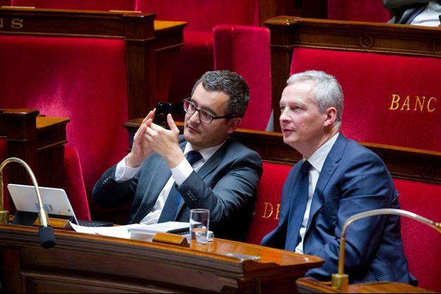 Gérald Darmanin et Bruno Le Maire à l'Assemblée nationale, en octobre 2017.