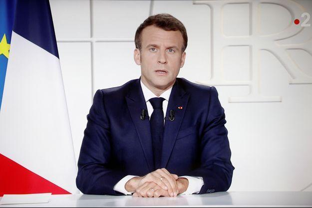 Emmanuel Macron lors de son allocution, ce mercredi soir 31 mars.