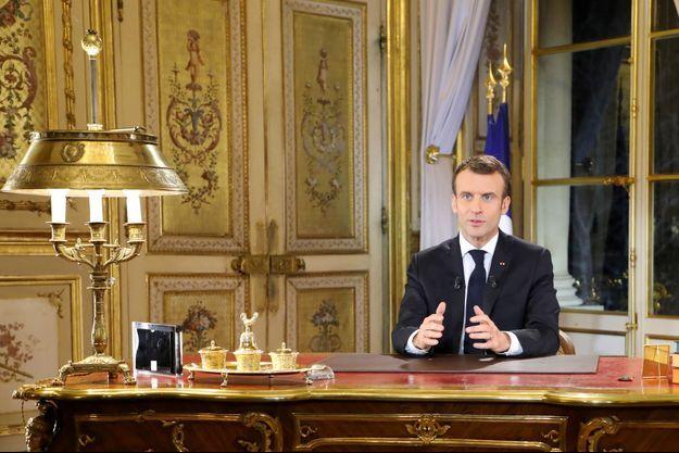 Emmanuel Macron depuis l'Elysée lundi soir.