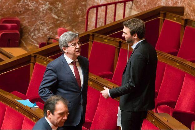 Jean-Luc Mélenchon et Ugo Bernalicis à l'Assemblée nationale, début février.