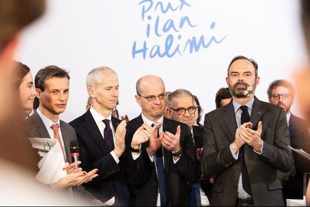 Edouard Philippe, Jean-Michel Blanquer et Franck Riester mercredi à Matignon lors du deuxième prix Ilan Halimi.