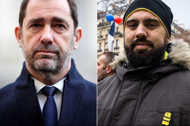 """Christophe Castaner veut que la justice poursuive Eric Drouet (à droite) appelant à un """"soulèvement sans précédent"""""""