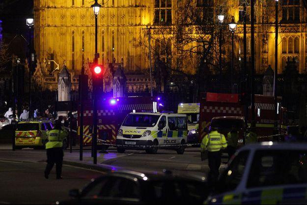 Les environs du Parlement britannique après l'attaque mercredi.