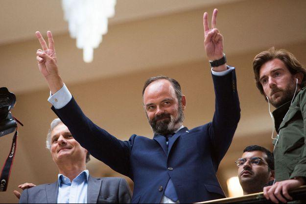 Edouard Philippe dimanche à l'Hôtel de ville du Havre, lors de l'annonce des résultats.