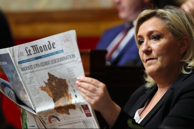 Marine Le Pen à l'Assemblée nationale, mardi.