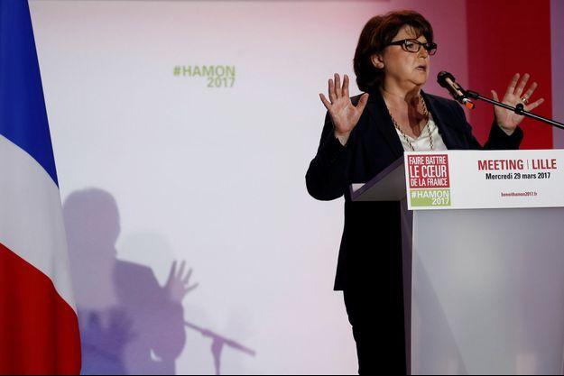 Martine Aubry lors d'un meeting de Benoît Hamon en mars à Lille.